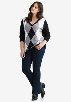 V-neck Argyle Sweater by ellos®, BLACK GUNMETAL, hi-res