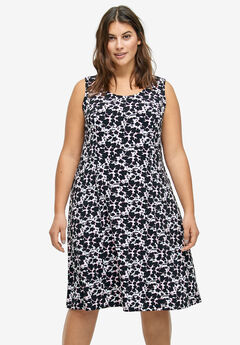 Fit and Flare Knit Dress by ellos®, WHITE BLACK FLORAL