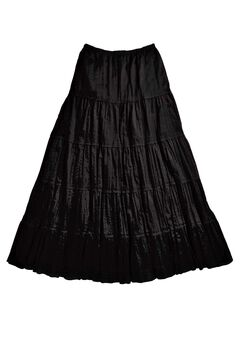 Crinkled Tiered Skirt by ellos®, BLACK, hi-res