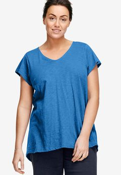 V-Neck High/Low Tunic by ellos®, CORNFLOWER BLUE, hi-res