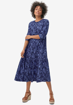Tiered Cotton Midi Dress,
