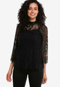 Lace Mock Neck Top by ellos®, BLACK, hi-res