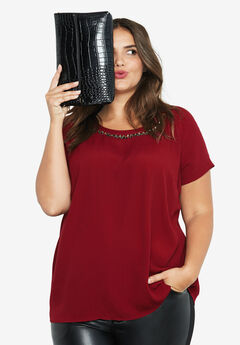 Jewel Embellished A-line Top by ellos®, RICH BURGUNDY, hi-res