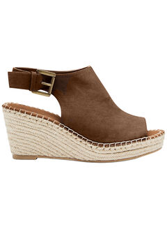 Faux Suede Espadrille Wedge Sandals by ellos®, PECAN BROWN, hi-res