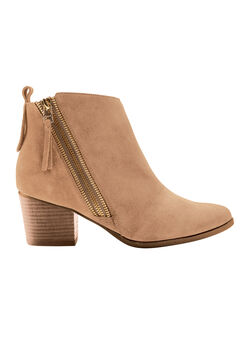 Suede Zip Bootie by ellos®, TOFFEE, hi-res