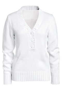 Button Y-neck Sweater by ellos®, WHITE, hi-res