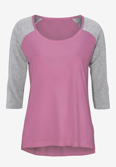 Colorblock 3/4 Sleeve Tee by ellos®, MAUVE ORCHID HEATHER GREY, hi-res