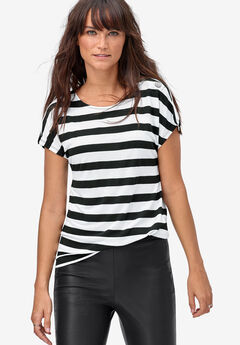 Shoulder Snap Tee by ellos®, BLACK WHITE STRIPE