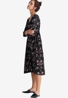 Floral A-Line Dress by ellos®, BLACK FLORAL PRINT, hi-res