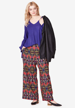 Wide-Leg Soft Pants by ellos®, ANTIQUE STRAWBERRY TRIBAL