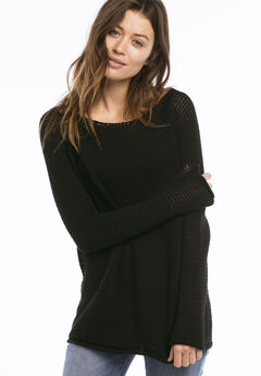 Ballet Neck Ribbon Yarn Sweater by ellos®, BLACK, hi-res