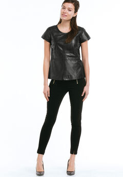 Back Zip Leather Top by ellos®, BLACK, hi-res