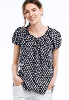 Keyhole Neckline Peasant Blouse by ellos®, NAVY/WHITE PRINT, hi-res