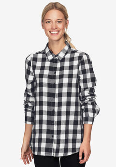 Plaid Flannel Shirt by ellos®, BLACK WHITE PLAID, hi-res