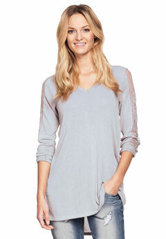 2f8f9512ee6d0 Lace Trim Long Sleeve Tunic by ellos®
