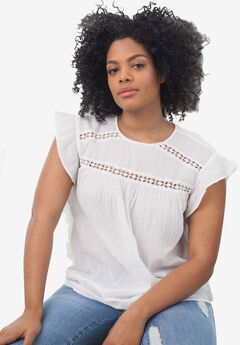 Side Ruffle Gauze Blouse by ellos®, WHITE, hi-res
