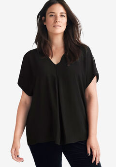Slit Sleeve Blouse by ellos®, BLACK, hi-res