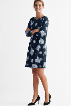 Back Zip Knit Dress by ellos®, NAVY FLORAL