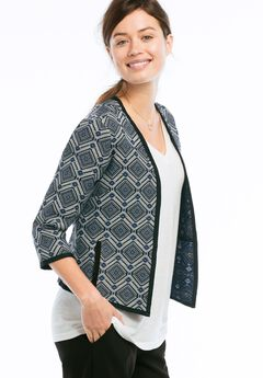 Open Jacquard Jacket by ellos®, BLACK WHITE PATTERN, hi-res
