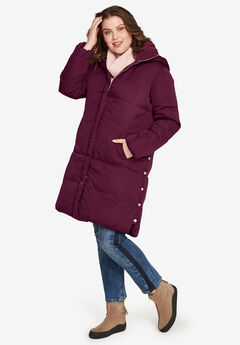 Side Snap Puffer Coat by ellos®, MIDNIGHT BERRY