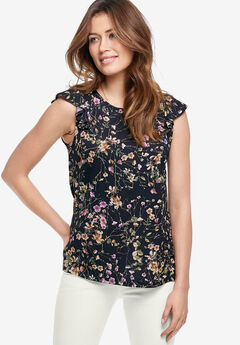 Ruffle Sleeve Tee by ellos®, BLACK FLORAL, hi-res