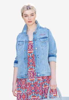 Distressed Denim Jacket by ellos®, LIGHT BLUE DISTRESSED, hi-res