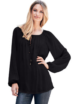 Tie Neck Peasant Tunic by ellos®, BLACK, hi-res