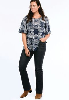 Flutter Sleeve Tee by ellos®, NAVY/WHITE PAISLEY PRINT, hi-res