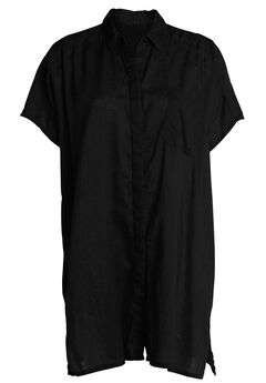 Oversized Linen Blend Tunic by ellos®, BLACK, hi-res