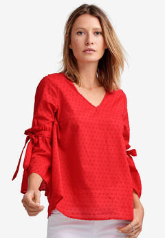 Tie-Sleeve Swiss Dot Blouse by ellos®,
