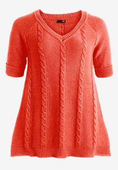 Cable V-neck Sweater by ellos®,