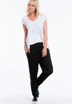 Woven Soft Drawstring Pants by ellos®, BLACK, hi-res