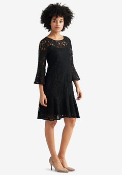 Flounce Hem Lace Dress by ellos®,