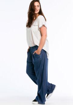 Wide Leg Elastic Waist Denim Pants by ellos®, DARK STONEWASH, hi-res
