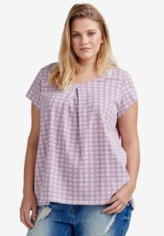 Twisted V-neck Tee by Ellos®, DUSTY BERRY TILE PRINT, hi-res