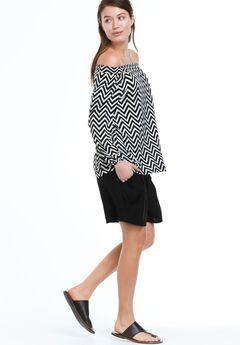Woven Drawstring Shorts by ellos®, BLACK, hi-res