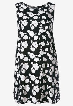 Sleeveless Shift Dress by ellos®, BLACK WHITE FLORAL