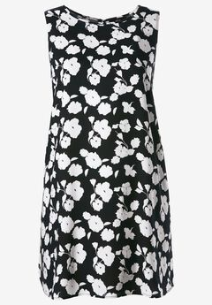 Sleeveless Shift Dress by ellos®, BLACK WHITE FLORAL