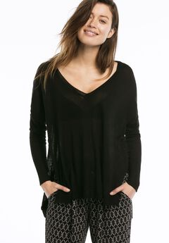 Lightweight V-neck High/low Sweater by ellos®, BLACK, hi-res