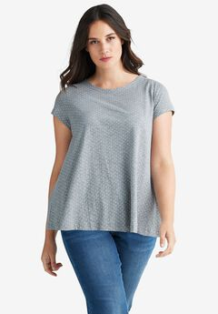 Trapeze Knit Tee by ellos®, HEATHER GREY WHITE DOT, hi-res