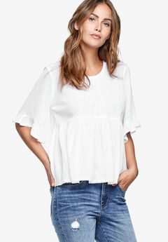 Ruffle Sleeve Babydoll Blouse by ellos®, WHITE, hi-res