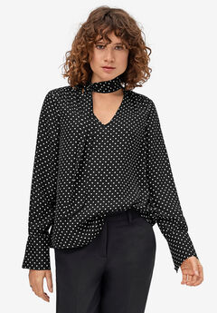Sash Tie-Neck Blouse by ellos®, BLACK WHITE DOT