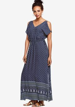 Border Print Maxi Dress by ellos®, NAVY PAISLEY PRINT, hi-res