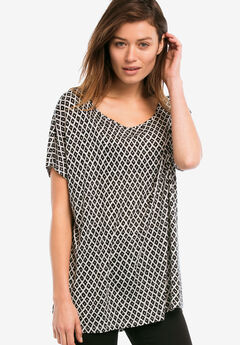 Boxy Dolman Sleeve Tunic by ellos®, BLACK WHITE PRINT, hi-res