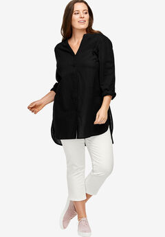 Linen-Blend Tunic by ellos®, BLACK, hi-res