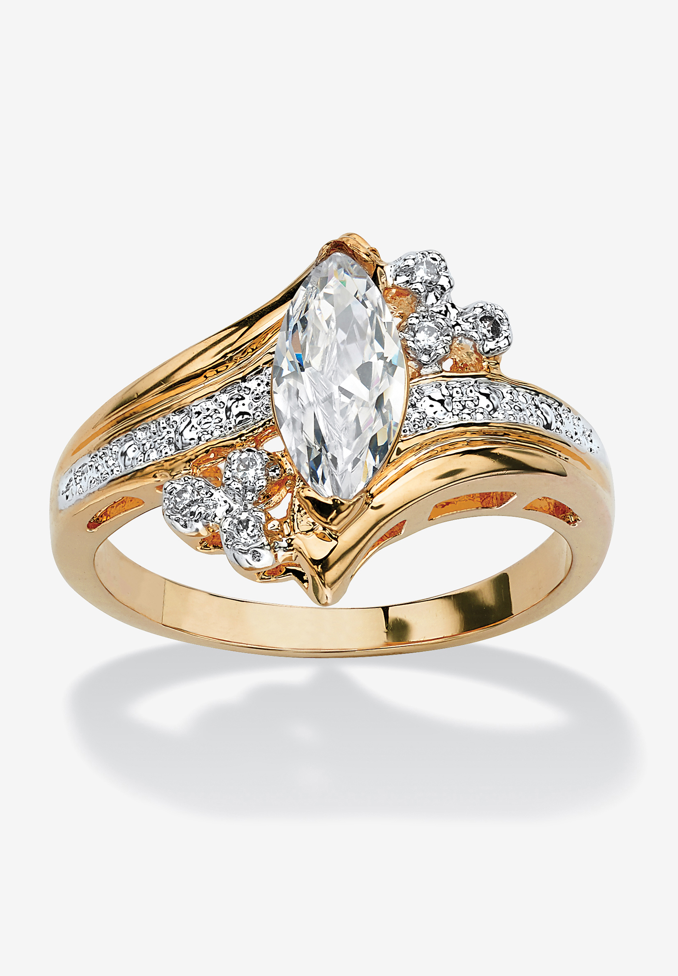 Gold-Plated Marquise Cut Engagement Ring Cubic Zirconia, GOLD
