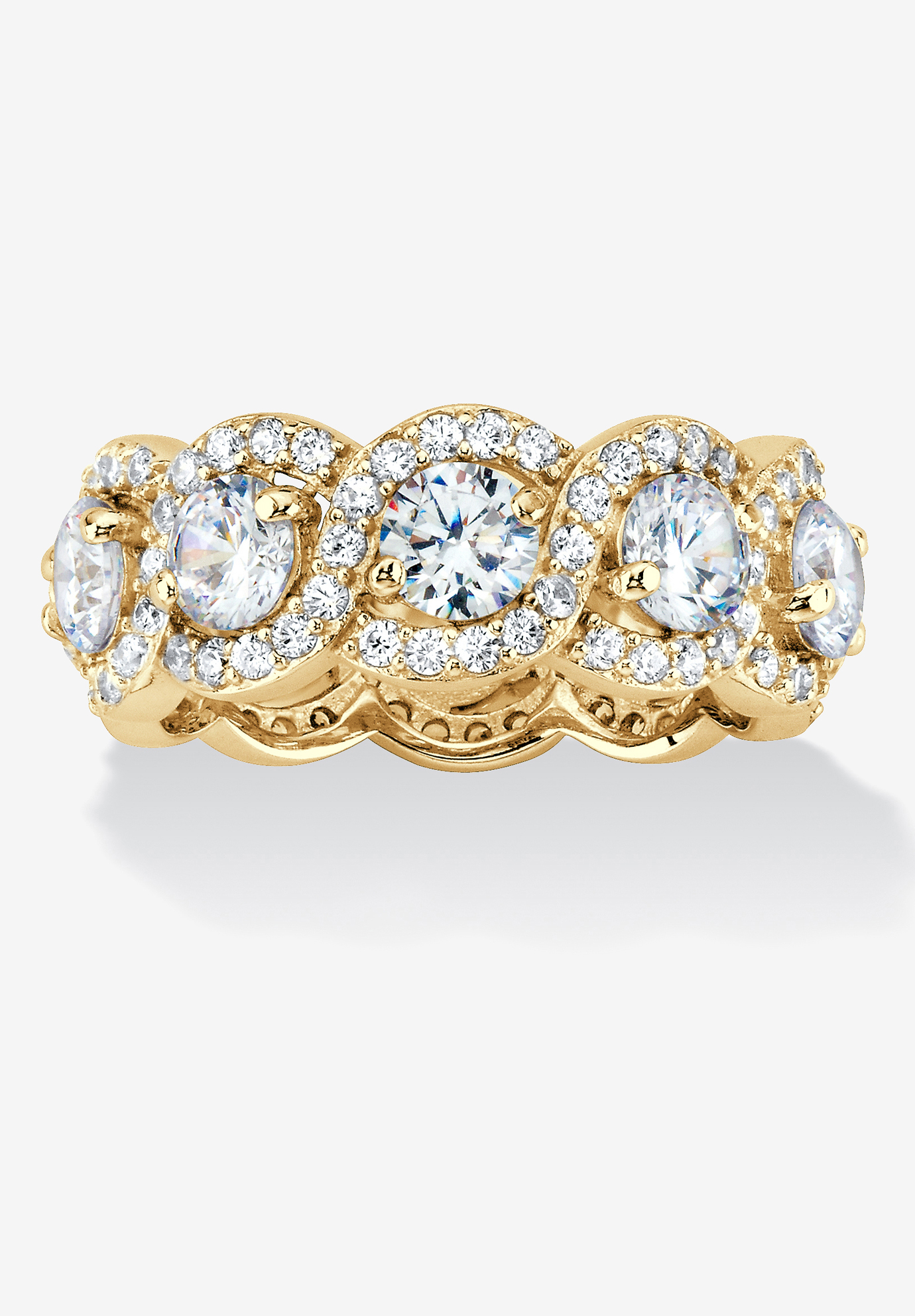 Yellow Gold over Sterling Silver Eternity Bridal Ring Cubic Zirconia,