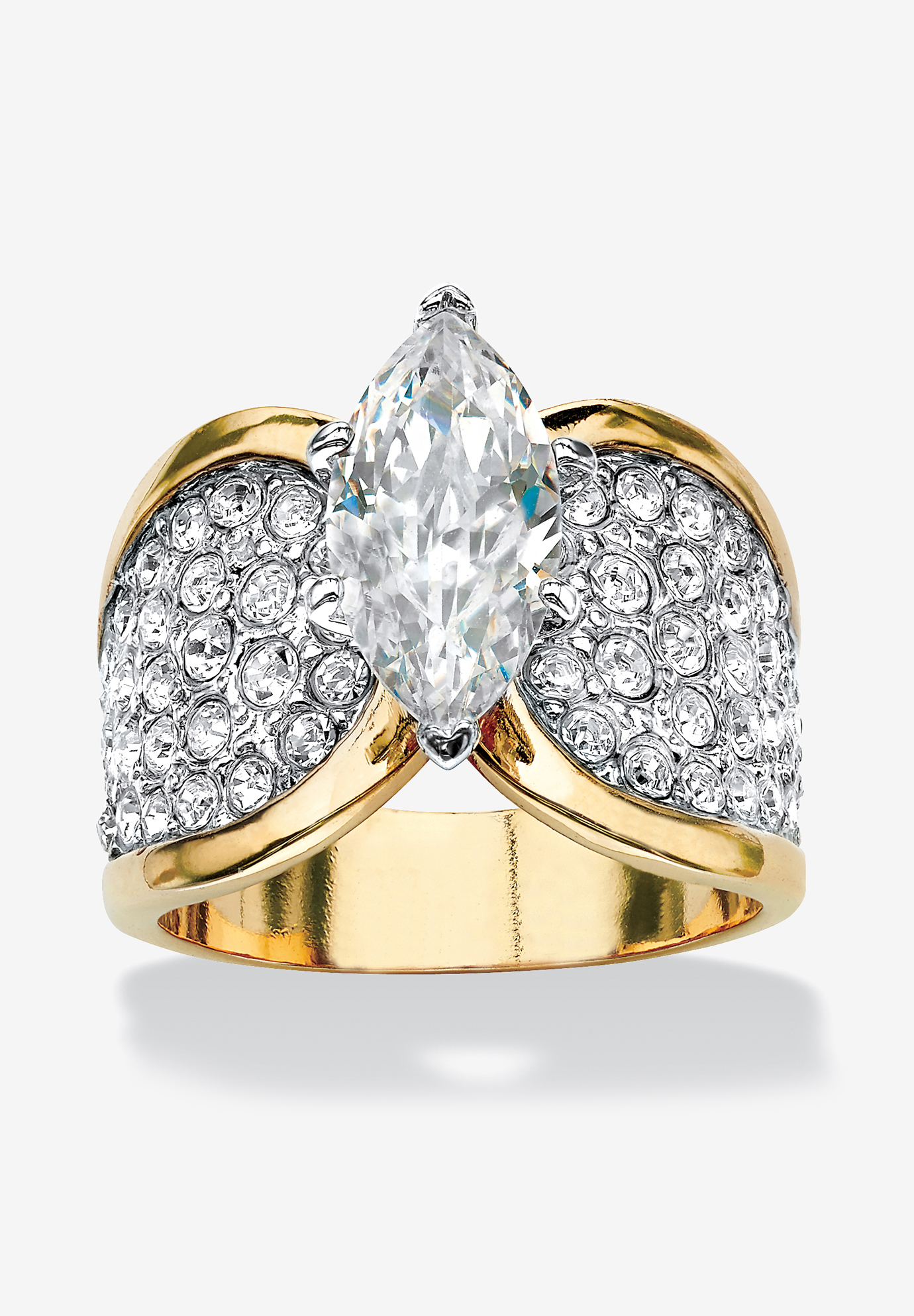 Yellow Gold Plated Cubic Zirconia and Round Crystals Cocktail Ring, GOLD