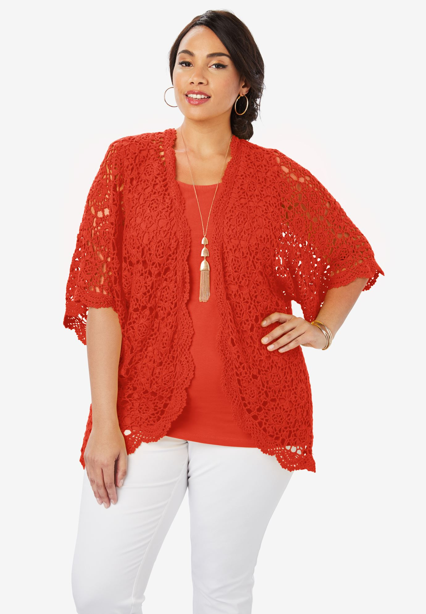 Crochet Cardigan Sweater Plus Size Cardigans Roamans
