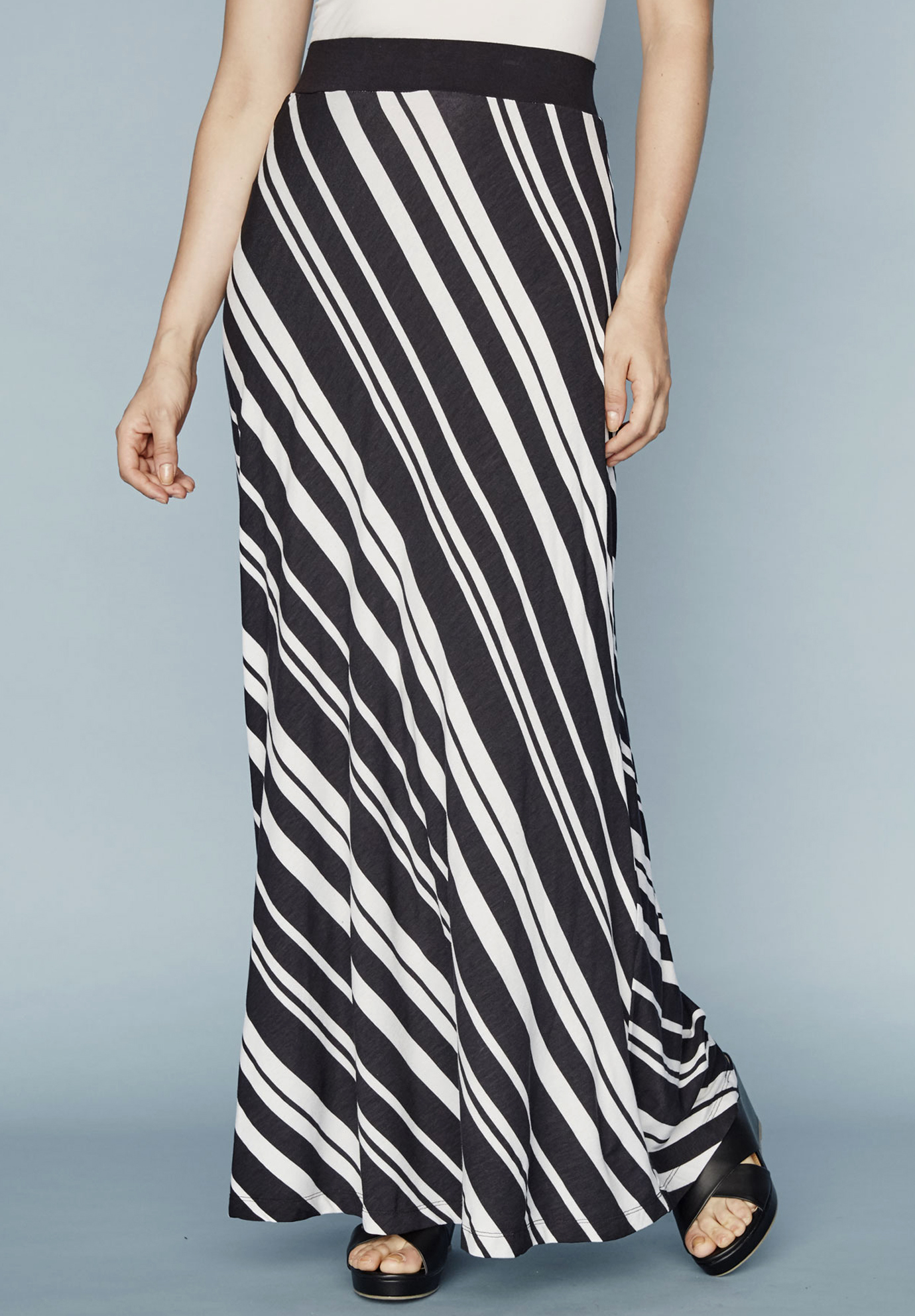 Maxi Skirt in Stretch Jersey, BLACK WHITE STRIPE, hi-res